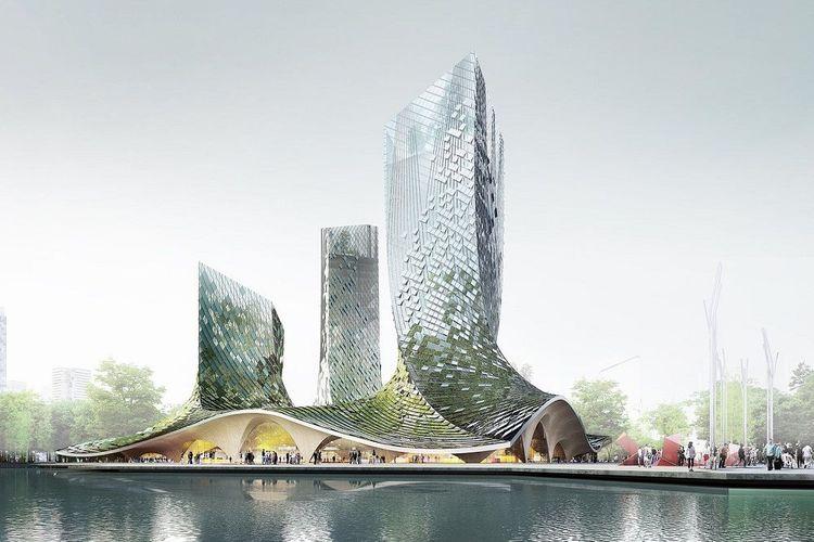 Sebuah megaproyek diluncurkan bulan lalu di Hangzhou. Bangunan yang dinamakan FrenchDreamTowers ini dirancang oleh XTU Architecs dan menampilkan desain yang futuristik.