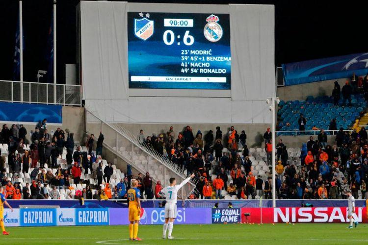 Real Madrid menang 6-0 atas APOELL Nicosia di Stadion Neo GSP pada pertandingan Grup H Liga Champions, Selasa (21/11/2017).