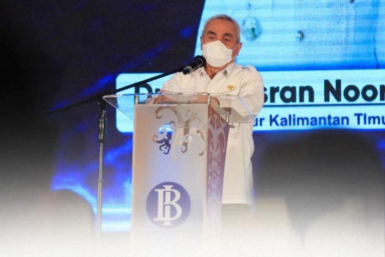 Gubernur Kaltim, Isran Noor saat memberi sambutan dalam acara launching virtual expo di Kantor Perwakilan Bank Indonesia Kaltim, Samarinda, Rabu (14/4/2021).