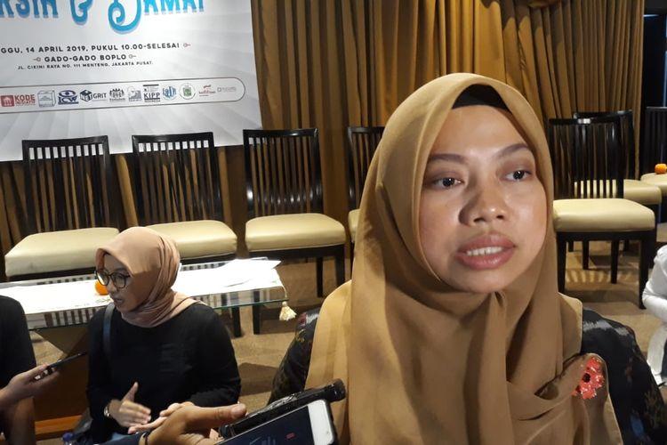 Direktur Eksekutif Perkumpulan untuk Pemilu dan Demokrasi (Perludem), Titi Anggraini, saat ditemui di Gado Gado Boplo, Jakarta Pusat, Minggu (14/4/2019).
