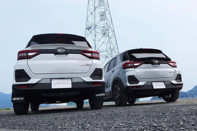 Daihatsu Rocky dan Toyota Raize yang telah dimodifikasi dengan body kit Albermo.