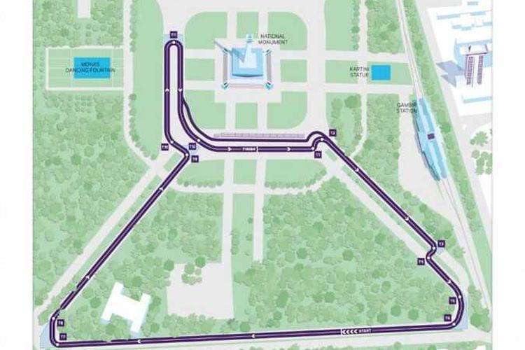 Jalur Formula E yang diumumkan di Hotel Novotel, Cikini, Jakarta Pusat, Jumat (14/2/2020)