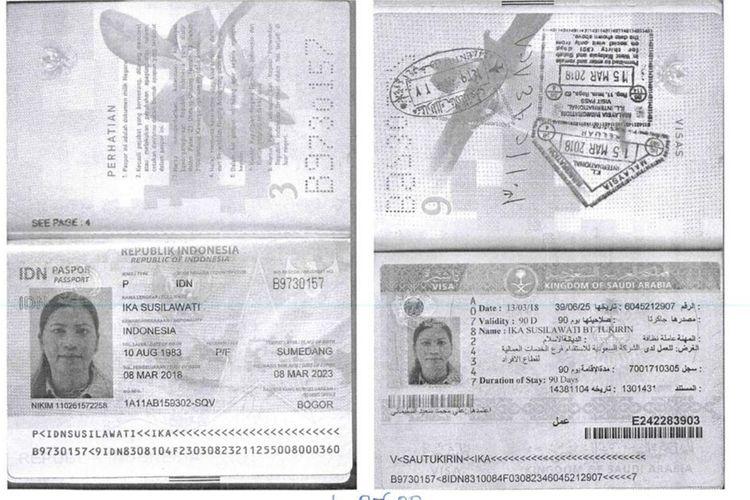 Screenahoot paspor TKI asal Sumedang yang meninggal dunia di Arab Saudi. AAM AMINULLAH/KOMPAS.com