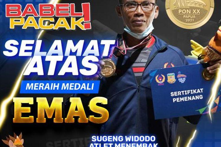 Atlet menembak Bangka Belitung, Sugeng Widodo, meraih medali emas pada PON XX Papua 2021.