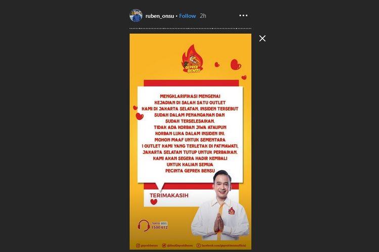 Postingan Instagram Story Ruben Onsu soal outlet Geprek Bensu di Fatmawati, Jakarta Selatan, Rabu (31/7/2019).