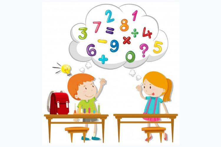 Ilustrasi anak-anak belajar matematika di kelas.