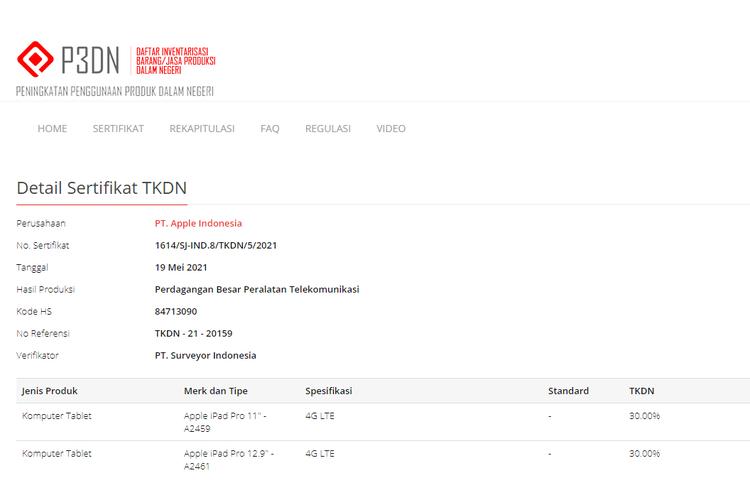 Apple iPad Pro 2021 terdaftar di laman resmi TKDN.