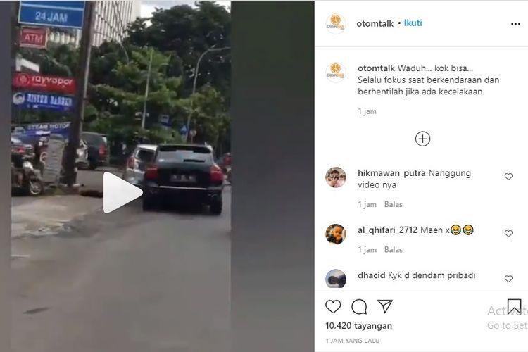 Tangkapan layar kecelakaan yang berlangsung di Jalan Raya Cilandak KKO, Jakarta Selatan.