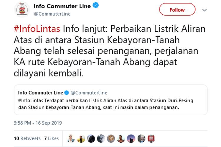 Informasi mengenai perbaikan listrik di antara Stasiun Kebayoran-Tanah Abang yang sudah selesai ditangani, Selasa (17/9/2019).