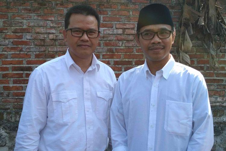 M Al Khadziq (kanan) dan pasangan cabup Heri Ibnu Wibowo ditetapkan sebagai calon bupati dan wakil bupati Temanggung, Kamis (26/7/2018).