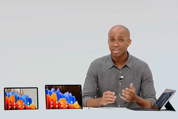 Customer Relationship Management Samsung, Adrian Wilson, memperkenalkan Galaxy Tab S7 dan S7 Plus di acara Galaxy Unpacked yang digelar secara online, Rabu (5/8/2020).