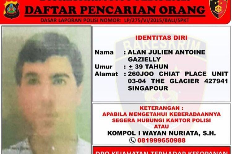 Julien Antonie Gazielly (45), warga negara Perancis masuk dalam daftar pencarian orang (DPO) Polda Bali.