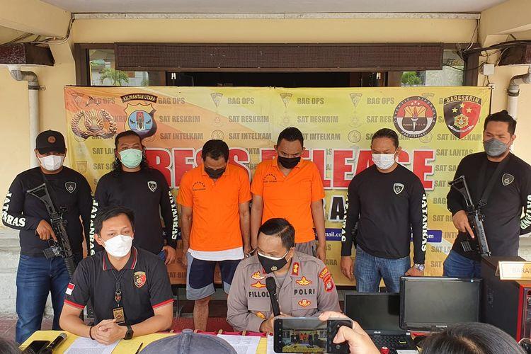 Prescon di Mapolres Tarakan terkait kasus pemalsuan surat hasil lab PCR dan surat perjalanan oleh sindikat, salah satunya oknum Avsec Bandara Juwata Tarakan Kaltara