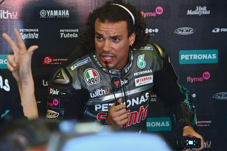Pebalap Petronas Yamaha SRT asal Itali, Franco Morbidelli, berbicara usai sesi latihan bebas ketiga MotoGP San Marino, di Sirkuit Misano Marco Simoncelli, Sabtu (12/9/2020).