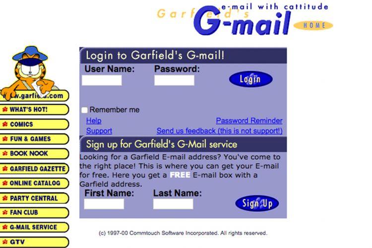 Screenshot layanan G-mail besutan Paws Inc tahun 1998, dari Internet Archive.