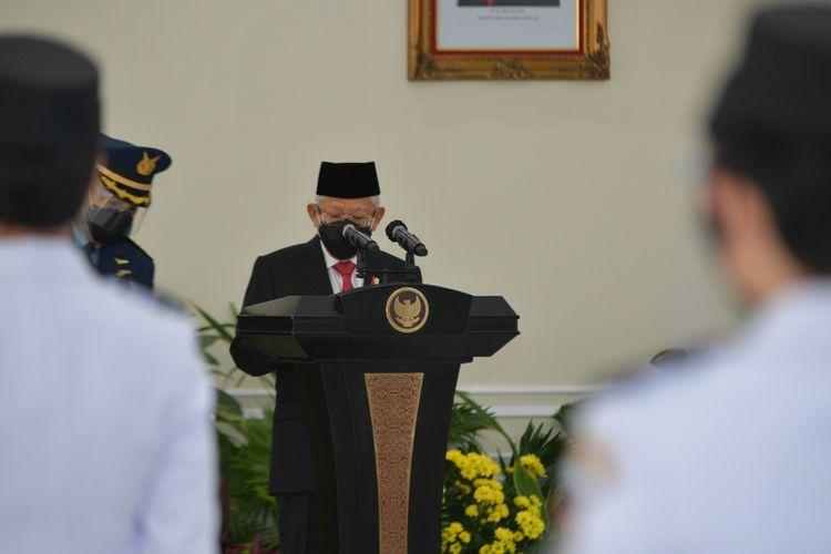 Wakil Presiden Ma'ruf Amin di acara Pelantikan Pamong Praja Muda Lulusan IPDN Angkatan XXVIII Tahun 2021 yang digelar secara luring dan daring, Selasa (3/8/2021).