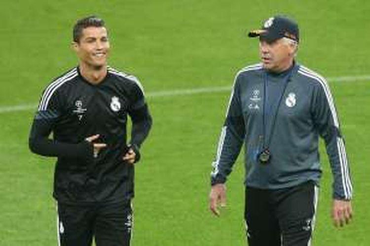 Cristiano Ronaldo saat masih dilatih oleh Carlo Ancelotti.