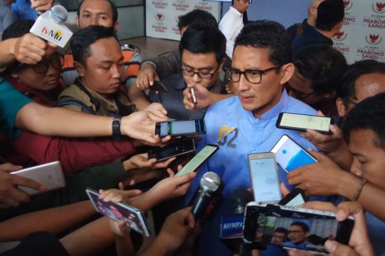 Calon wakil presiden nomor urut 02, Sandiaga Uno, di media center, Jakarta Selatan, Senin (19/2/2019).