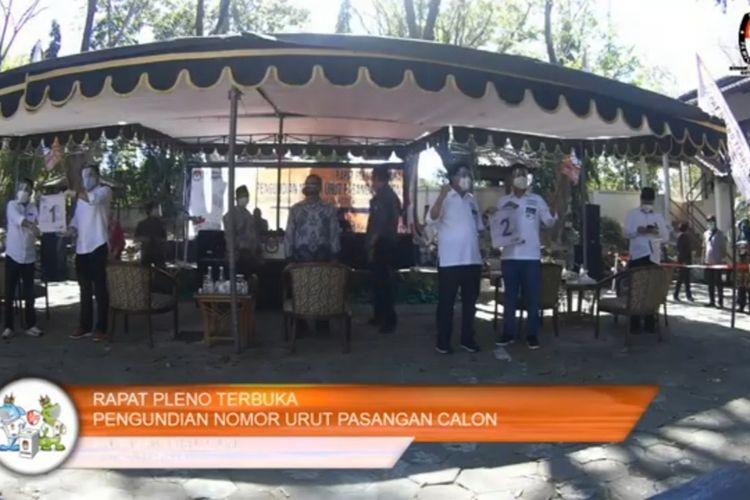 Tangkapan layar acara pengundian nomor urut pasangan calon wali kota dan wakil wali kota Surabaya, Kamis (24/9/2020).