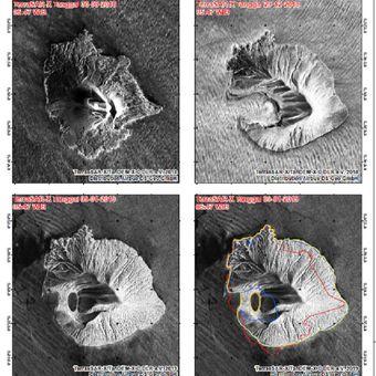 Perubahan morfologi Gunung Anak Krakatau, Citra satelit LAPAN