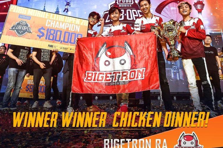 Wakil Indonesia, Bigetron RA, berhasil memenangi turnamen e-sports PUBG Mobile dalam Final Global PUBG Mobile Club Open 2019 di Kuala Lumpur, Malaysia.