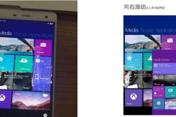 Xiaomi Mi4 yang menggunakan sistem operasi Windows 10