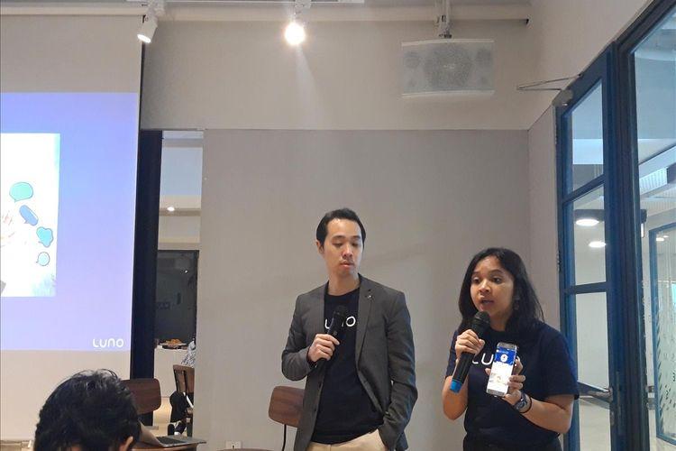 General Manager Asia Tenggara Luno David Low dan Community Lead Luno Indonesia Debora di Jakarta, Kamis (11/7/2019).