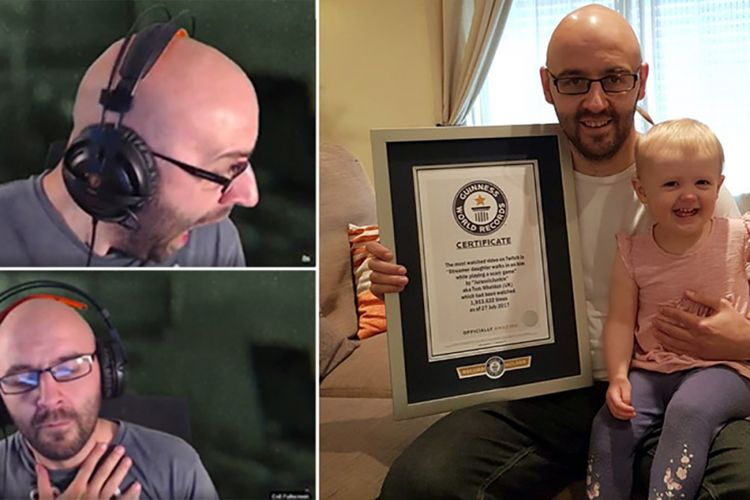 Ekspresi kaget Tom Wheldon saat bermain game karena dikejutkan oleh putrinya (kiri) berbuah titel video terpopuler di Twitch.