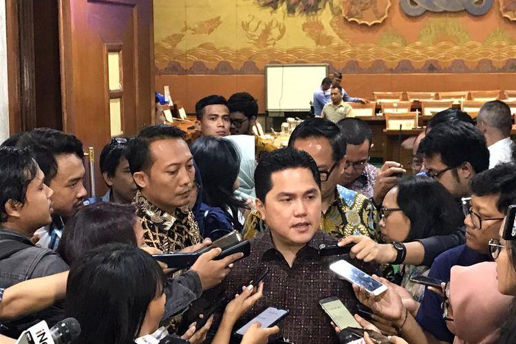 Menteri BUMN Erick Thohir saat di Gedung DPR/MPR RI, Jakarta, Senin (2/12/2019).