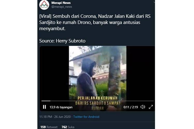Tangkapan layar seorang pria yang baru saja sembuh dari Covid-19 pulang dengan berjalan kaki dari Rumah Sakit Sardjito, Yogyakarta ke rumahnya sejauh 8 km.