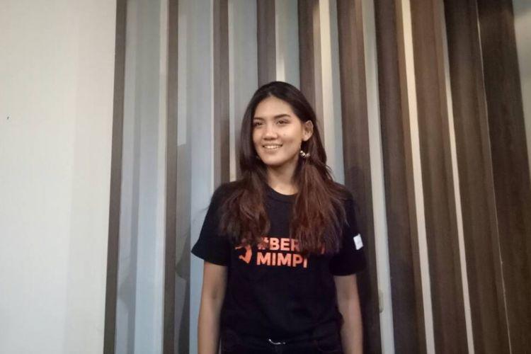 Monita Tahalea berpose pada peresmian Kampanye #BERANIMIMPI di Gedung 33, Gondangdia, Jakarta Pusat, Selasa (30/5/2017).