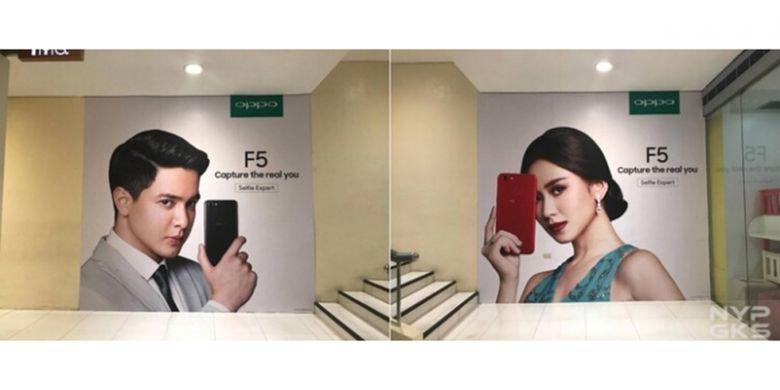Poster yang memperlihatkan sosok smartphone F3 di Filipina.