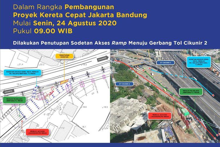 Pekerjaan Pier Proyek KCIC pada Ramp Gerbang Tol Cikunir 2 kembali dilakukan mulai Senin (24/8/2020).