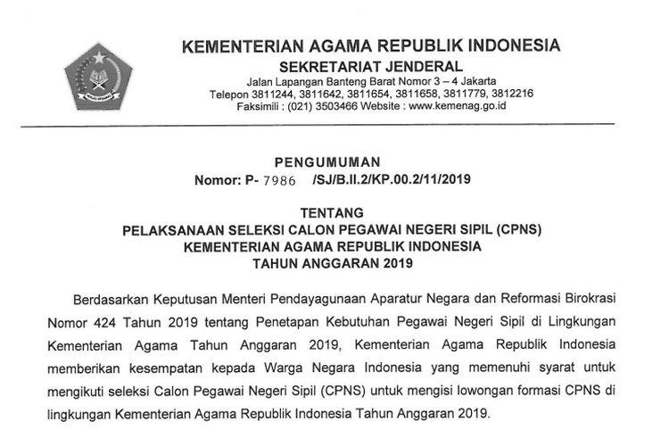 Kemenag membuka sebanyak 5.815 formasi CPNS 2019.