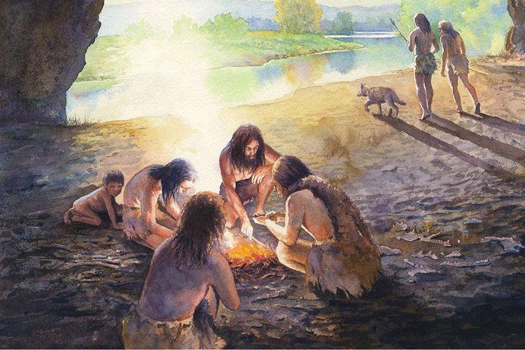 Ilustrasi manusia purba Neanderthal yang membuat api dengan menggesekkan batu.