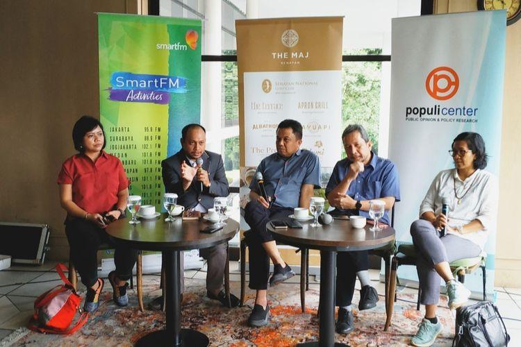 Pakar Hukum Tata Negara UIN Syarif Hidayatullah Jakarta Andi Syafrani dalam diskusi di bilangan Senayan, Jakarta Pusat, Sabtu (2/2/2020).