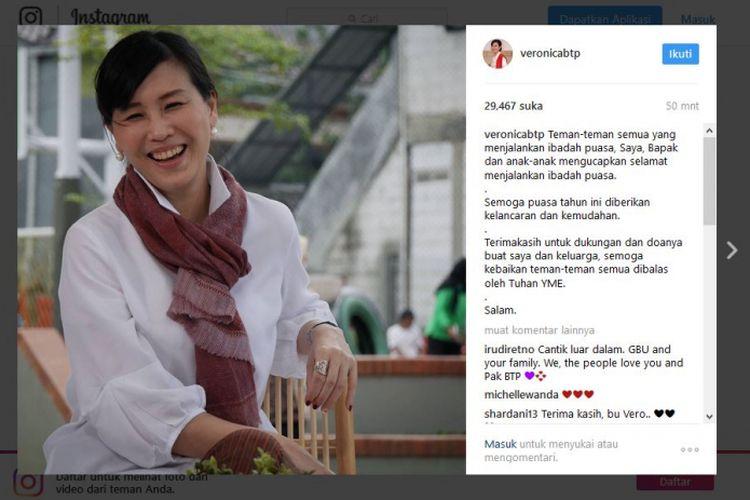 Istri Basuki Tjahaja Purnama (Ahok), Veronica Tan, menyampaikan ucapan selamat menunaikan ibadah puasa melalui akun Instagram miliknya, @veronicabtp, Jumat (26/5/2017).