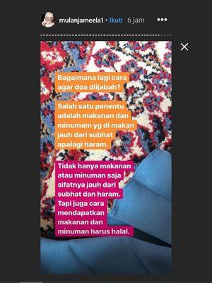 Penyanyi Mulan Jameela berbicara tentang doa di Instagram.
