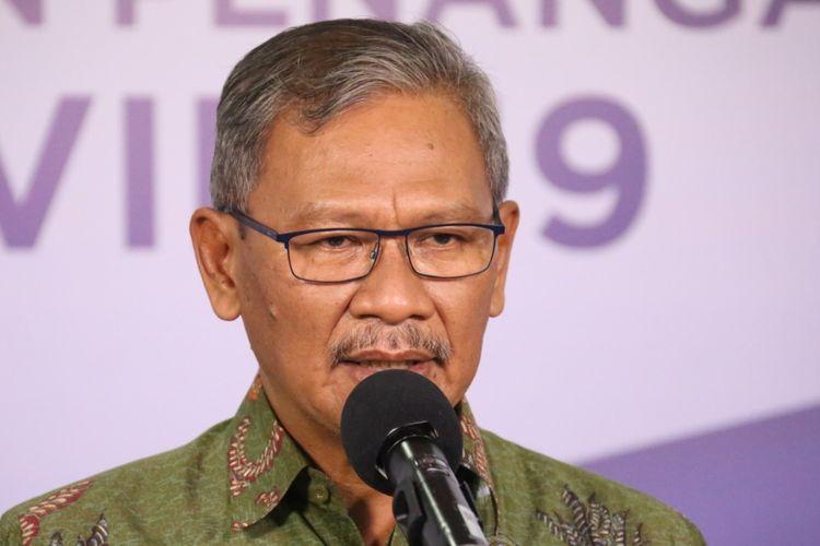 Juru Bicara Pemerintah untuk Penanganan Covid-19 Achmad Yurianto dalam keterangan resmi di Media Center Gugus Tugas Percepatan Penanganan Covid-19, Graha Badan Nasional Penanggulangan Bencana (BNPB), Jakarta, Senin (15/6/2020).