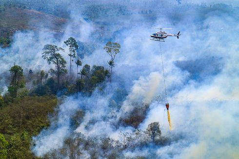Water Bombing Jadi Cara Efektif Padamkan Kebakaran Pegunungan Ijen