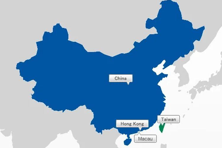 Peta wilayah China, Taiwan, Hong Kong, dan Macau.
