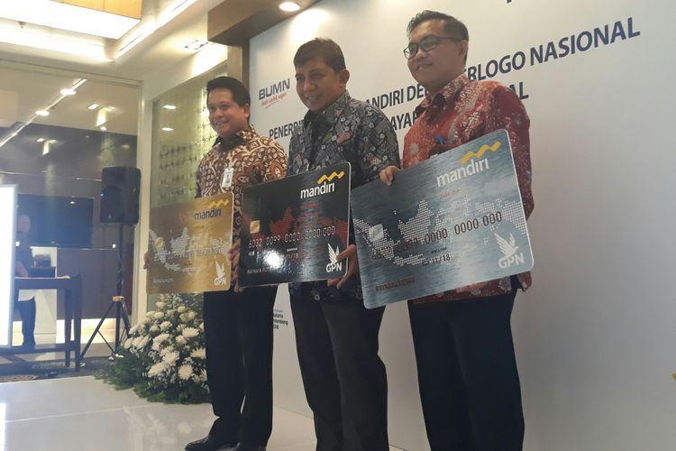 Peluncuran kartu debit Bank Mandiri berlogo Gerbang Pembayaran Nasional (GPN) di Plaza Mandiri, Senin (9/4/2018).