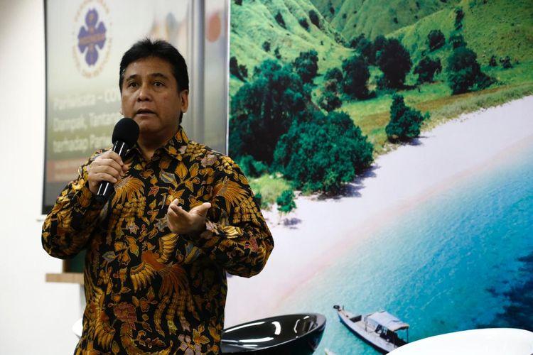 Ketua Persatuan Hotel dan Restoran Indonesia (PHRI), Haryadi Sukamdan saat jadi pembicara dalam acara forum pariwisata Quality Tourist, Super Quality Destinations, Wonderful Idonesia di MarkPlus Main Campus EightyEight@Kasablanka Lantai 8, Jumat (28/2/2020).
