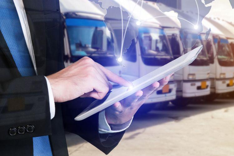 Ilustrasi logistik dengan teknologi digital