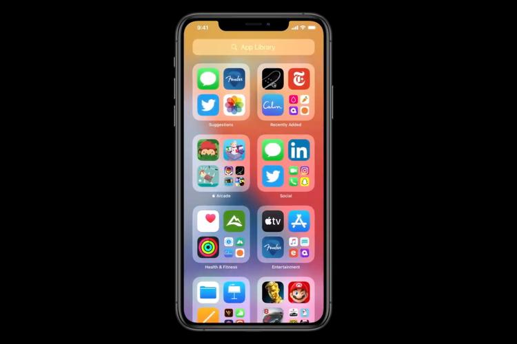 Tampilan salah satu fitur baru iOS 14 yakni App Library