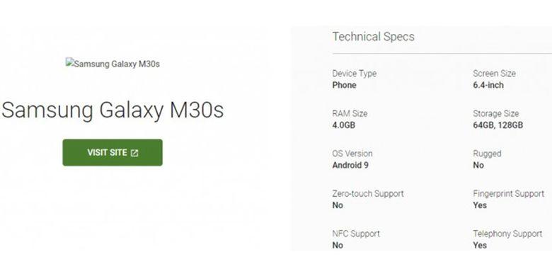 Spesifikasi Samsung Galaxy M30s yang muncul di laman sertifikasi Android.