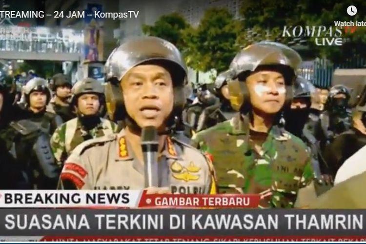 Kapolres Jakarta Pusat Kombes Harry Kurniawan di depan Gedung Bawaslu, Jakarta, Rabu (22/5/2019) malam.