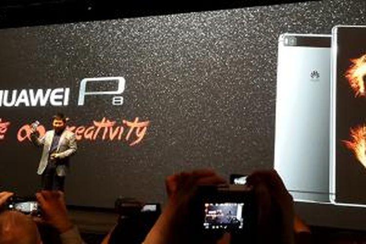 Peluncuran Huawei P8 di London, Inggris, Rabu (15/4/2015).
