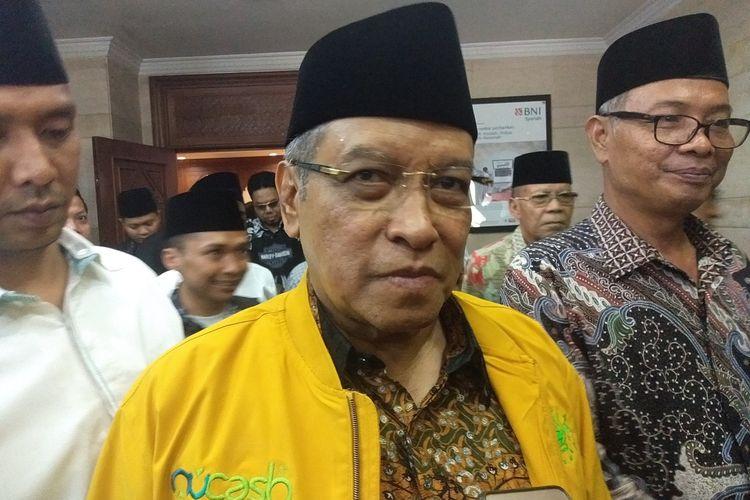 Ketua Umum Pengurus Besar Nahdlatul Ulama (PBNU), Prof KH Said Aqil Siradj seusai memberikan tausiyah dalam acara Sosial Media NU Gathring di Kantor PBNU, Menteng, Jakarta Pusat, Rabu (29/1).