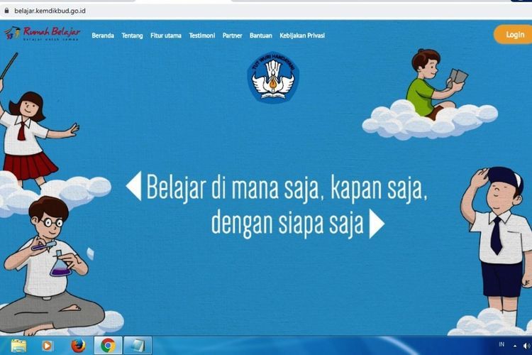 Tangkapan layar laman resmi Rumah Belajar Kemendikbud RI.